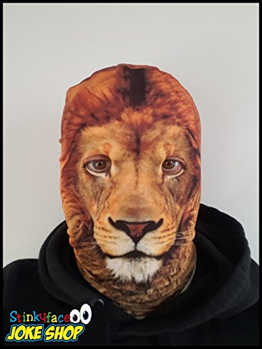 Stinkyface Lion Face Maske Tier Printed Lycra Big Cat Full Head Fancy Kleid