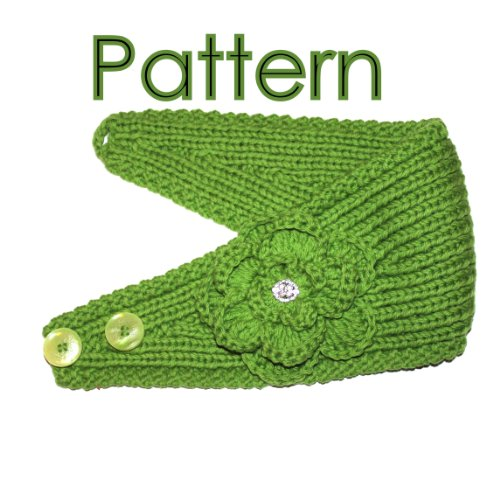 "Headband Knitting Pattern With Crochet And Knitted Flower ""Begonia"""
