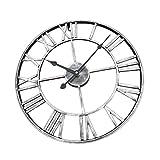 non-brand MagiDeal Wanduhr XXL Uhr 40 cm Ø Standuhr mit Römische Ziffern Holzwanduhr - Silber