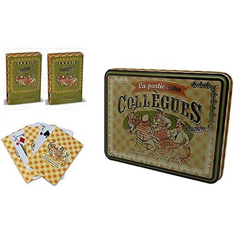 2 x Juegos de Cartas Naipes Baraja de Poker + Caja Metalica Diseño Paris Vintage Coleccionable 211455 7073