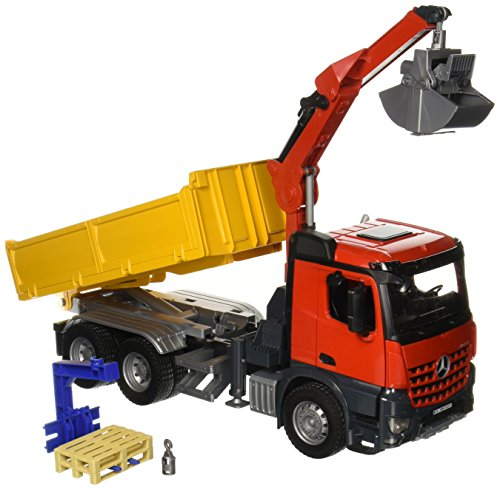 Bruder MB Arocs Construction truck with accessories - vehículos de juguete (Rojo, Amarillo, Niño)