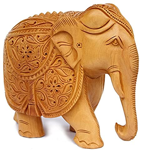 Elephant Gifts and Decor - Elephant Statue Ornaments Figurine with Hand Designer Work - An Elegant Art Sculpture – Hand Carved Wooden Animals - Elephant Art from