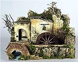 ROSSI ROSA Mulino Ad Acqua con Pompa Cm. 33X18X25 Natale Presepe-Acc. con, Multicolore, 8018623112163