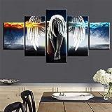CXDM 5 Panel Wandkunst Für Wohnzimmer Leinwanddrucke Schöne Flügel Mädchen Bild Feuer und EIS Wasser Engel Dekoration Anime Manga,A,30×40×2+30×60×2+30×80×1