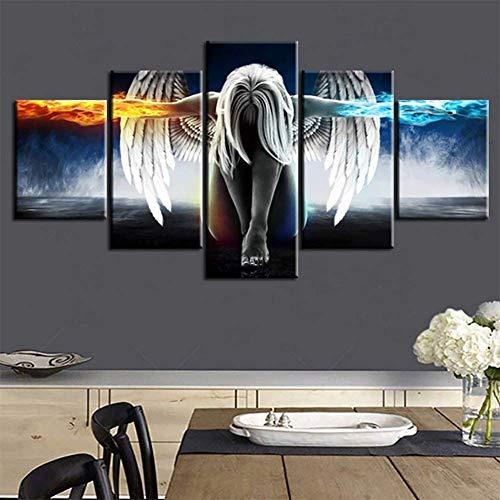 CXDM 5 Panel Wandkunst Für Wohnzimmer Leinwanddrucke Schöne Flügel Mädchen Bild Feuer und EIS Wasser Engel Dekoration Anime Manga,A,30×40×2+30×60×2+30×80×1 -