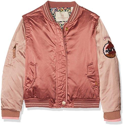 Scotch & Soda R´Belle Mädchen Tonal Satin Bomber Jacket with Badges Jacke, Rosa (Dusty Rose 494), 164 (Herstellergröße: 14)