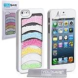 Yousave Accessories Regenbogen Glitzer Hard Cover Case für iPhone 5/5S, Weiß