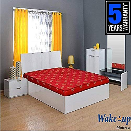 Wake-Up 5-inch Rubberised Coir Mattress (Queen Size/78X 60X 5-inches, Maroon)