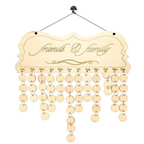 Ultnice family friends birthday promemoria calendario targa in legno board con etichette per la decorazione domestica