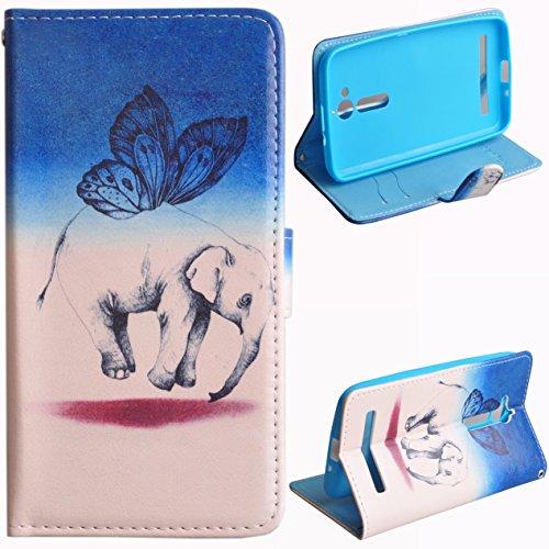 Asus ZenFone Go ZB500KL Hülle, Voguecase Kunstleder Tasche PU Schutzhülle Tasche Leder Brieftasche Hülle Case Cover (Fliegende Elefant) + Gratis Universal Eingabestift