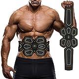 EMS Estimulador Muscular, Waitiee Electornic Abdominal Entrenamiento Muscular Máquina, Inteligente Usable Casa Entrenamiento Para hombres mujeres Adelgazar (Black)