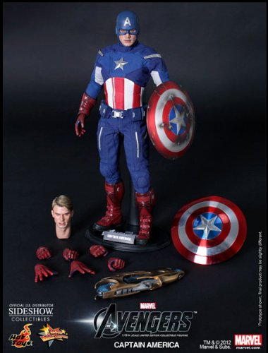 Hot Toys Figura Los Vengadores (The Avengers). Capitán América, Masterpiece 31cm. Sideshow Collectibles