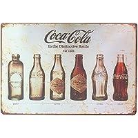 ipekoo Coca Cola Bottle Evolution Distressed Retro Vintage Wand Metall blechschild (A)