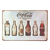 ipekoo Coca Cola Bottle Evolution Distressed Retro Vintage Wand Metall blechschild (A)
