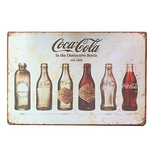 ipekoo-murale-vintage-retro-vieilli-evolution-bouteille-coca-cola-plaque-en-metal-12x8