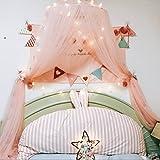 Jeteven Spitzenborte Baldachin Betthimmel Moskitonetz aus Spitze & Baumwolle,Moskitonetz Insektenschutz Kinder Prinzessin Spielzelte Dekoration fürs Kinderzimme,hoch 250cm (Reines Rosa) (D)