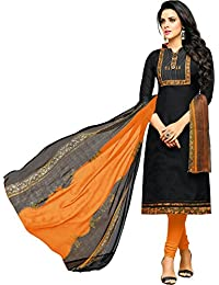 MF Next Stylish Black & Mustard Chanderi Cotton Salwar Suit For Women