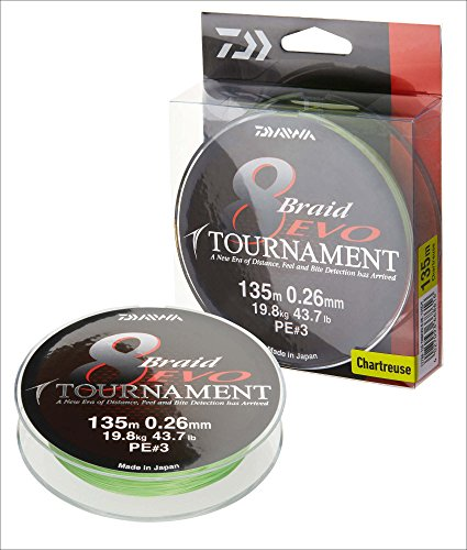 Daiwa Tournament 8 Braid EVO 0.14mm, 10,2kg/22,4lbs 300m chartreuse