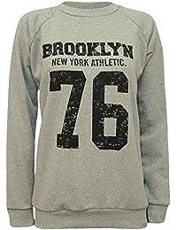 Womens Brooklyn 76 USA Print Long Sleeve Jumper Ladies Top Sweatshirt - 8-14
