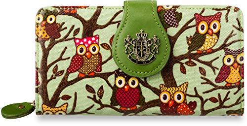 großes Portemonnaie für Junge Damen LYDC Motiv - Eule grün
