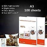 100 hojas de papel de transferencia de sublimación de 16.5 x 11.7 pulgadas, tamaño A3 papel de transferencia para camiseta/taza/funda de teléfono/placa/almohada/vidrio, tinta de sublimación solamente