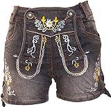 Almwerk Damen Trachten Jeans Lederhose kurz Modell Gina in blau und schwarz, Farbe:Schwarz, Größe:42