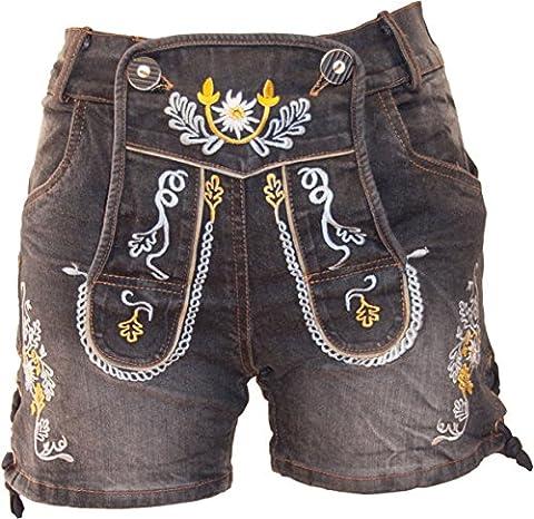 Almwerk Damen Trachten Jeans Lederhose kurz Modell Gina in blau und schwarz neu , Farbe:Schwarz, Größe:38