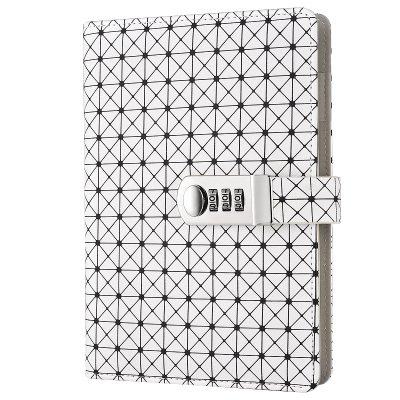 Für Mädchen Tagebuch Passwort (Jia HU A5Grid Muster Verriegelungs Leder Notizbuch mit Lesezeichen Stifthalter für Kinder Jungen Mädchen Schule Reise Büro weiß)