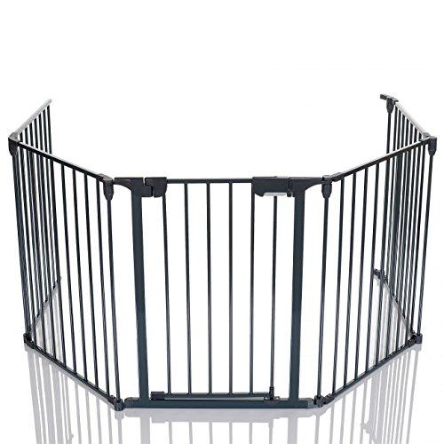 LCP Kids Barrière de sécurité Grille de protection cheminée Enfant Parc Bebe métal pliable avec 1 Porte et 4 Element