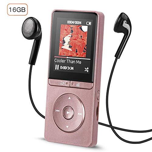 MP3 Player, 16GB verlustfrei MP3 Player mit Kopfhörer Kontrol, MP3 Player Kinder mit Lautsprecher FM Radio Aufzeichnung 1.8 Zoll TFT Bildschirm, Speicher Erweiterbar bis 64 GB, Glänzend Rosegold