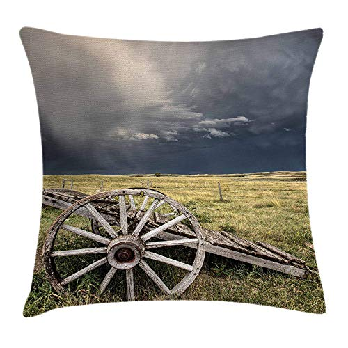 EJjheadband Barn Wood Wagon Wheel Throw Pillow Cushion Cover, Cloudy Day in Village Farm Aged Vintage Cart Outdoors, Decorative Square Accent Pillow Case, 18 X 18 inches, Umber Green Dark Blue (Cat Wheel Company)