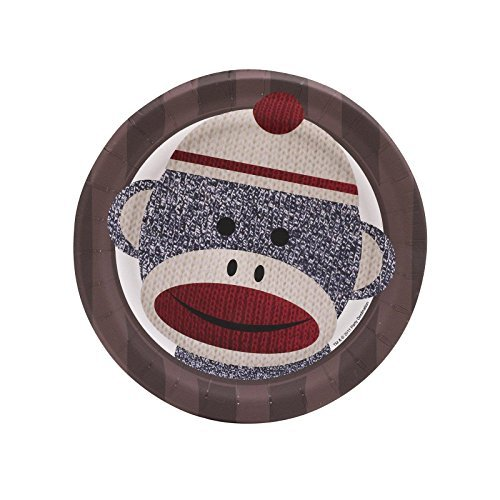Sock Monkey Party Supplies - Dessert Plates (8) by BirthdayExpress (Sock Monkey Party Supplies)