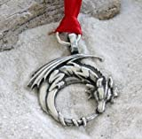Pewter Gothic Dragon on Crescent Moon Christmas Ornament and Holiday Decoration by Trilogy Jewelry