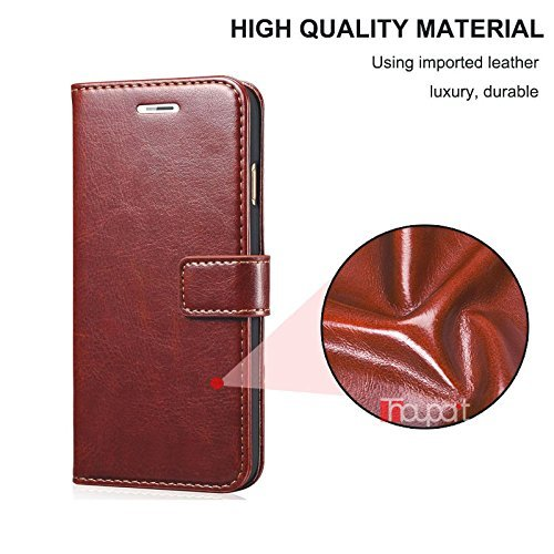 nKarta Samsung Galaxy J7 (2015) Flip Cover, Vintage PU Leather Wallet Book Cover Case for Samsung Galaxy J7 2015 (Brown)
