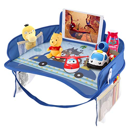 Idifair Vassoio da viaggio per bambini, vassoi da gioco per snack per bambini con top a secco e tasche a rete grandi, vassoio di...