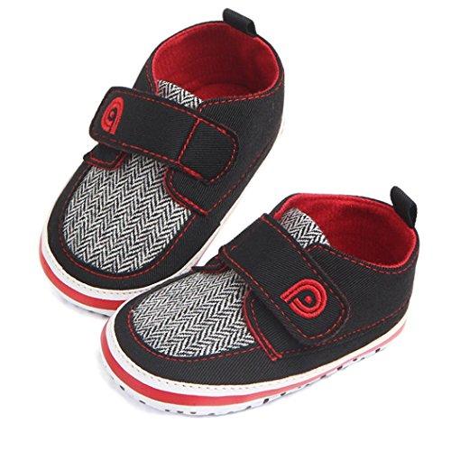 Igemy 1 Paar Neugeboren Baby Jungen Säugling Kleinkind Lace-Up Leinwand Soft Sohle Anti-Rutsch Schuhe Rot