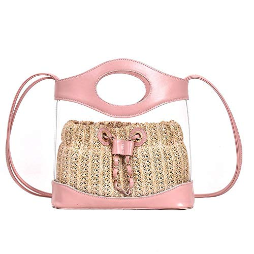 Chain Handle Bag (Women's Clear Purse PVC Transparent Bag Quilted Genuine Leather Totes Shopping Bags Top Transparent Chain Purse Handle Handbag Purse-pink Handle)