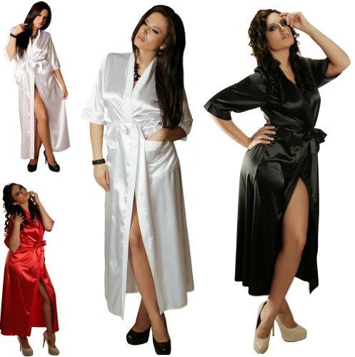 Nine X -Peignoir long forme kimono en satin femme chuchotements du 36 au 54 Rouge