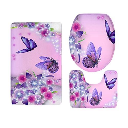 SunniMix Diverses Badezimmer Set Teppichmatte WC Deckel Einfache Soild Butterfly Badematten - Schmetterling 12 (Bad Sitz Deckel Und Teppich Set)