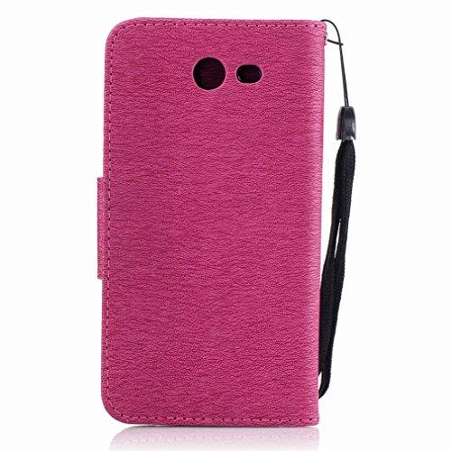 Yiizy Samsung Galaxy J3 Prime Custodia Cover, Fiore Di Farfalla Design Sottile Flip Portafoglio PU Pelle Cuoio Copertura Shell Case Slot Schede Cavalletto Stile Libro Bumper Protettivo Borsa (Red Rose Red Rose