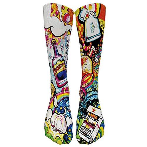 LEEDY Damen Weihnachtssocken Cartoon Expression Knee High Toe Socks Socken Mehrfarbig Socken Kompressionsstrümpfe Street Skateboard Mädchensocken