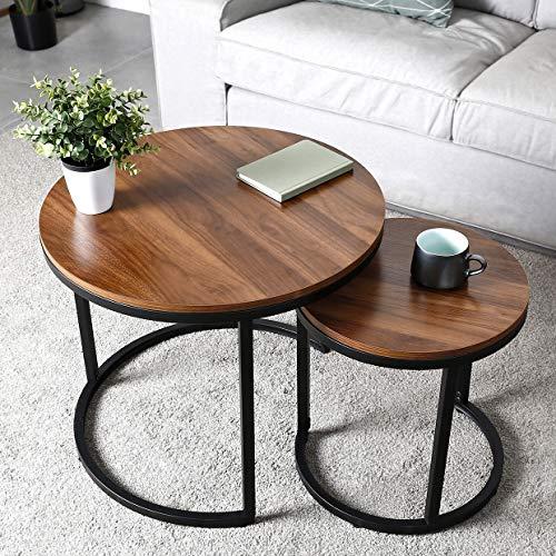 amzdeal Runder Couchtisch 2er Set, Beistelltische Satztische für Wohnzimmer Schlafzimmer, Stabile und Einfache Montage, Hölzerne Tischplatte mit Metallrahmen - 60,4×51cm   40,2×42,5cm