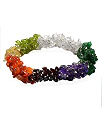 Reiki Crystal Products 7 Chakra Crystal Stone Chip Bracelet For Unisex