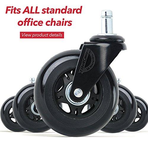 Gummi-Stuhlrollen für Bürostühle, Gummi-Stuhlrollen für Hartholzböden, Schreibtischstuhl-Räder, lebenslange Garantie Antik Rollen Küche Esszimmerstühle Rollen Heavy Duty Universal Fit -