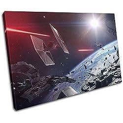 Bold Bloc Design - Star Wars Battlefront 2 X-Wing Gaming 60x40cm Single Boite de tirage d'art Toile encadree Photo Wall Hanging - a la Main dans Le UK - encadre et Pret a accrocher - Canvas Art Print