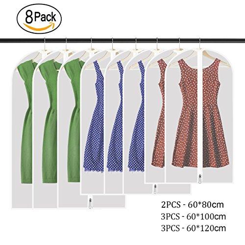 WILWOLF Kleidersack,8 Stücke Hochwertiger Kleidersack Kleiderhülle mit Reißverschluss Transparent Atmungsaktivem, für Anzüge Kleider Mäntel Sakkos Hemden Abendkleider Anzugsack Aufbewahrung