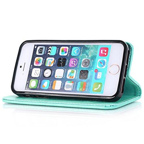 """iPhone 6 / 6s Cuir Coque,EVERGREENBUYING - Gaufrage peau Étui Housse en Cuir IP6 IP6S avec Stand et Rangement Cartes Case Cover pour iPhone 6 / 6s 4.7"""" Gris Azur"""