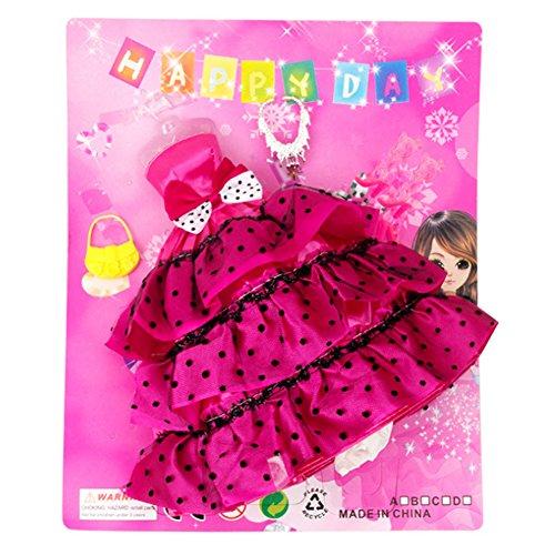 Runfon Barbie Puppenkleidung Partei-Kleid Outfits mit mit Ohrringen, Kopfschmuck, Schuhe Mode Hochzeit Kleid Zubehör Groß für Mädchen Geburtstags-Geschenk (rot) aus Premium Material