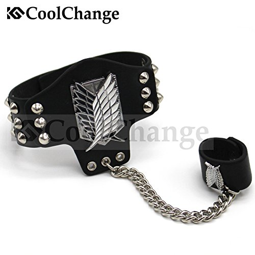 CoolChange Attack on Titan PU-Leder Armband mit Fingerring und Nieten -