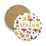 España Flamenco música alimentos piedra bebida posavasos de cerámica para taza regalo 2pcs